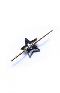 Звезда на погоны 13 мм пластик черная гладкая