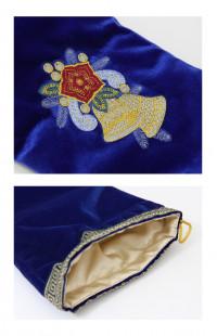 Сапожок новогодний с вышивкой бархат синий