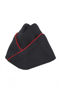 Пилотка форменная п/ш черный с красным кантом