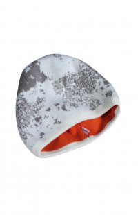 Шапка вязаная трикотажная двойная серо-белый камуфляж/оранжевый