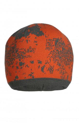 Шапка вязаная трикотажная двойная оранжевый камуфляж/олива