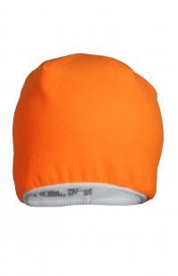 Шапка вязаная на флисе серо-белый камуфляж/оранжевый