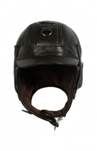 Шлем кожаный на флисе (с козырьком) коричневый
