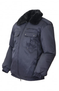 Куртка зимняя укороченная смесовая синий