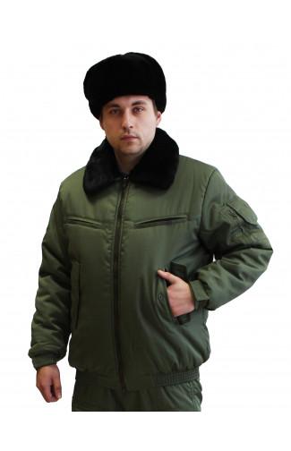 Куртка полетная утепленная с воротником из натурального меха олива