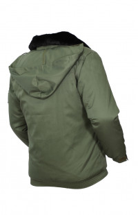 Куртка полетная утепленная с воротником из натурального меха смесовая олива