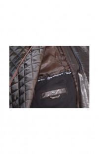 Куртка мужская из кожи буйвола утепленная (с коричневой подкладкой)