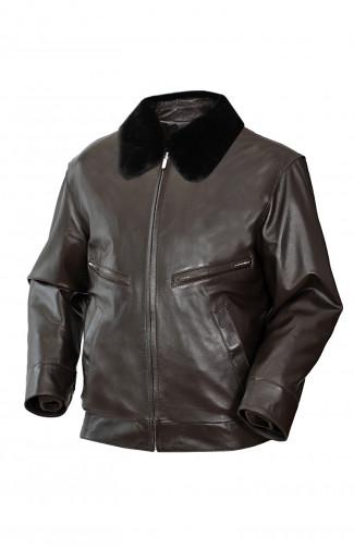 Куртка кожаная утепленная с воротником из натурального меха коричневый