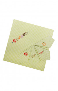 Комплект: скатерть, 4 салфетки с вышивкой смесовая салатовый