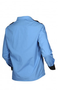 Сорочка форменная с длинным рукавом голубая с черной отделкой