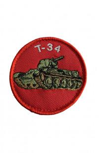 Шеврон Т-34 (детский) красный на контактной ленте