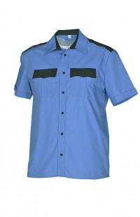 Сорочка форменная с коротким рукавом голубая с отделкой