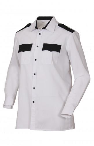Сорочка форменная с длинным рукавом белая с черной отделкой