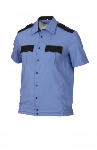 Сорочка форменная на поясе с короткимрукавом голубая с черной отделкой