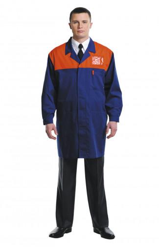 Халат рабочий для защиты от ОПЗ синий с оранжевым