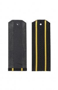 Погоны ВМФ с 2 желтыми просветами черный