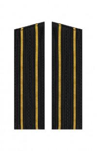 Погоны ВМФ с 2 желтыми просветами со скосом черный